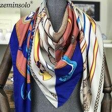 4654be07da2 2018 marque de luxe été femmes foulards de mode dame Foulard en soie  imprimer chaîne châles Pashmina Foulard Femme carré Bandana.