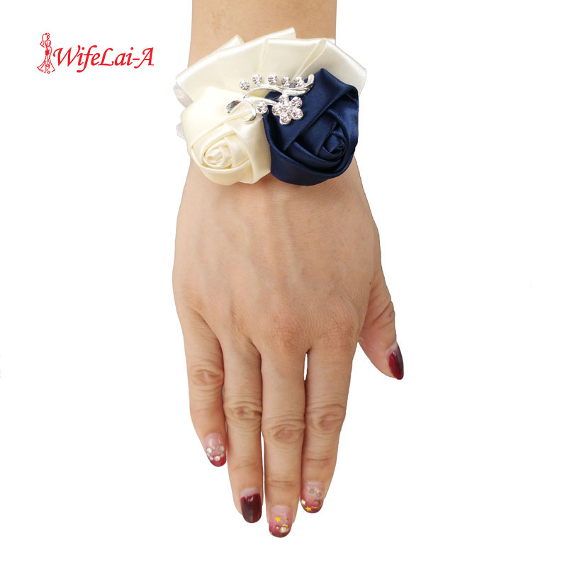 5pcs/lot Custom Color Corsages Cheap Silk Rose Flowers Wrist Flowers Bride Ribbon Marriage Wedding Corsage Hand Flowers SW1317-A