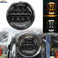 1PCS 7inch 80W Motorcycle Headlight With DRL And Turn Signal LED Headlamp For Harley Davidson 7