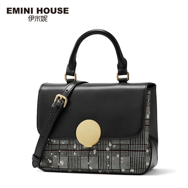 EMINI HOUSE ลายสก๊อต Patchwork กุญแจด้านบนแยกกระเป๋าถือหนังหรูผู้หญิงกระเป๋าออกแบบกระเป๋า Crossbody ผู้หญิง-ใน กระเป๋าสะพายไหล่ จาก สัมภาระและกระเป๋า บน   3