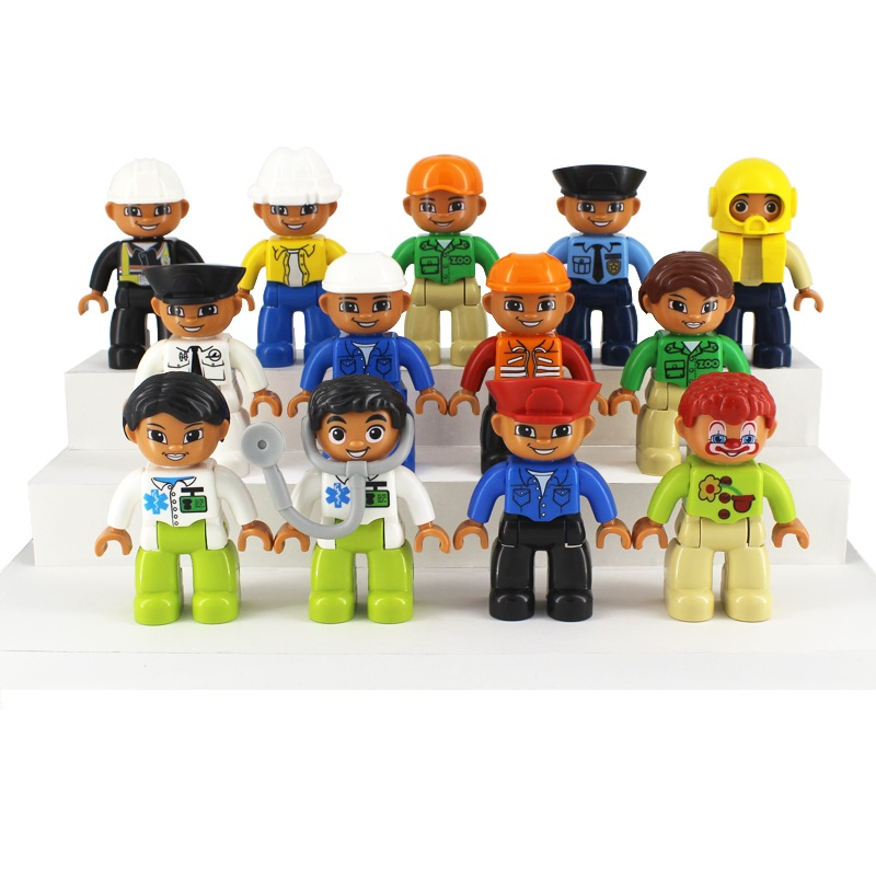 occupation Worker figure Doll Model Set Bricks Big Particles Building Blocks accessory Kids girl Toys Compatible with Duplo DIY кастрюля scovo мт 045