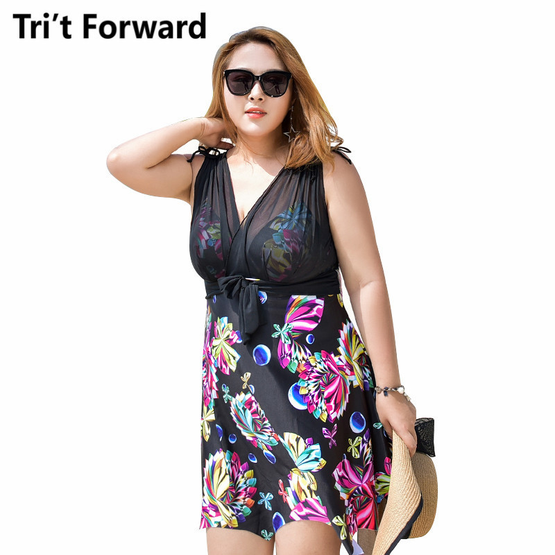 Plus Size Swimwear Women One Piece Swimsuit Femme Sexy Floral Beach Dress Lace Push Up Bathing Suit 2018 Swim Wear 3XL-6XL Size plus size swimwear one piece swimsuits sexy women push up padded bikinis floral beach bathing suits push up swim wear monokini
