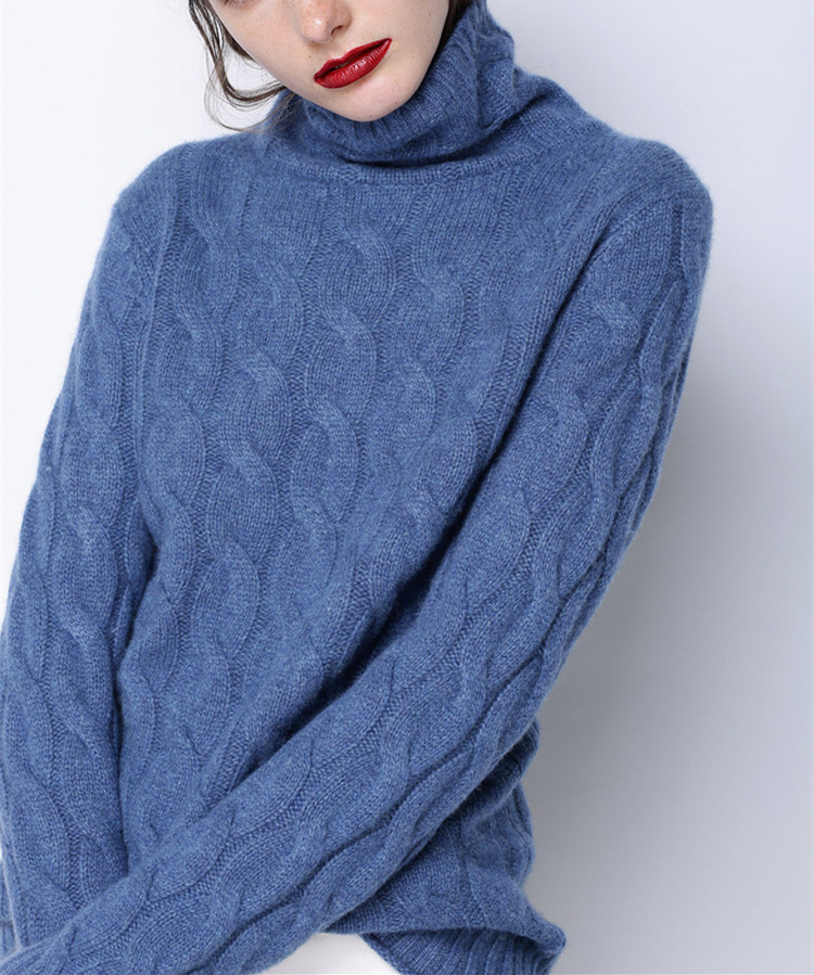 wool polyester blend twisted knit women thick pullover sweater high collar wide loose solid color S-XL retail wholesale