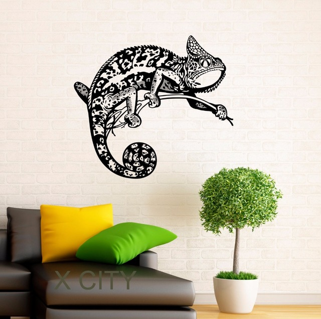 Chameleon decals lizard vinyl stickers reptile home interior design art murals housewares abstract bedroom wall decor