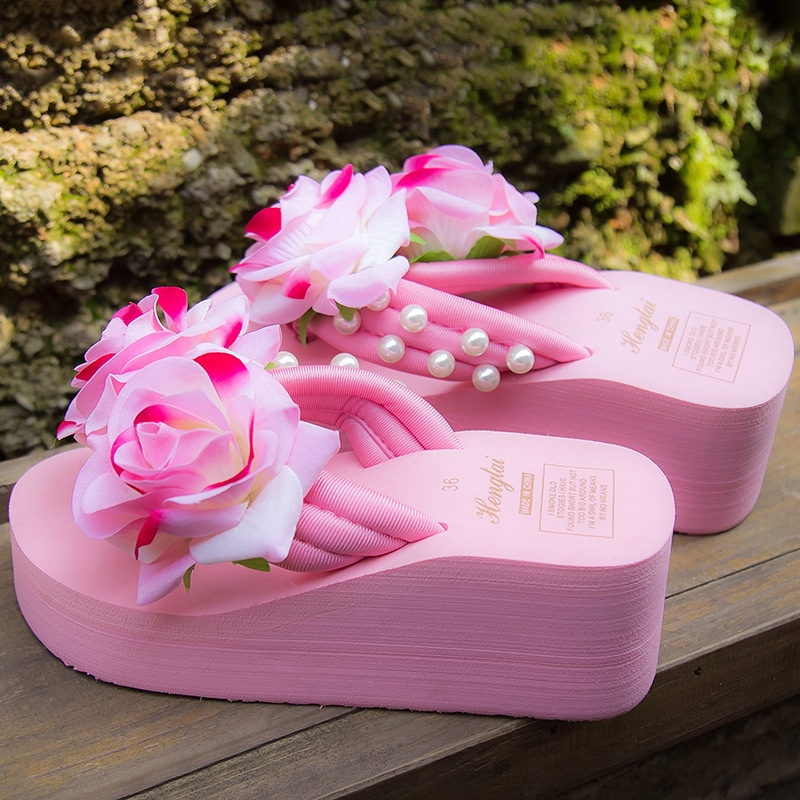 Sandals Women Wedges-Shoes Flower Platform Flip-Flops Rose Holiday Sweet Sweet-Pearl-Decoration