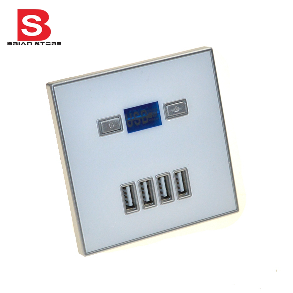 Socket with 4 USB Port 5V 4A Wall Faceplate Power Outlet Panel Socket Plug Switch Charger 220v 10a wall switch socket 4 port usb charger power outlet adapter panel g07 drop ship