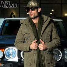V JEAN Mens Military Style Quilted Microfiber Winter Coat with Hood