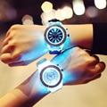 1 unid estudiante Reloj de Pulsera de caucho de Silicona reloj de Cuarzo Dial Redondo Unisex Hebilla De luz led moda casual X3