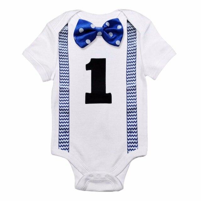 Odzież dla dzieci tanie noworodka ubrania strój niemowlę Baby Boy ubrania letnie 12 miesięcy Beby Jumper Romper drukuj pierwsze urodziny nosić