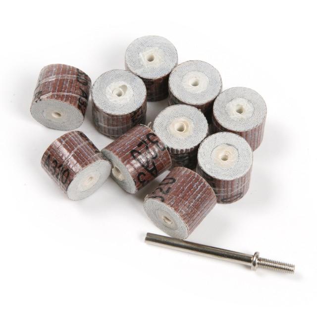 Fixmee 10pc 15*14mm 180# Grinding Buffing Sandpaper Flap Wheel Head W/ Mandrel For Rotary Dremel Tool