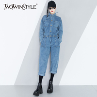 TWOTWINSTYLE Denim Jumpsuits For Women Lace Up Tunic High Waist Long Sleeve Pocket Ankle Length Trouser