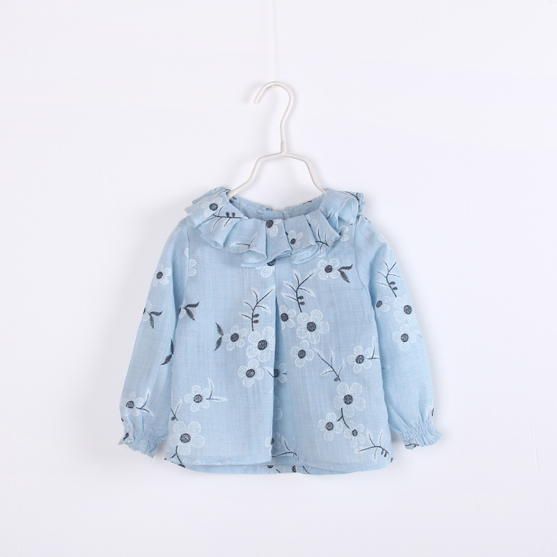 2016 next spring fall baby girls Foam flower sweater tops flimsy permeability kids blouses cute full sleeve children clothing