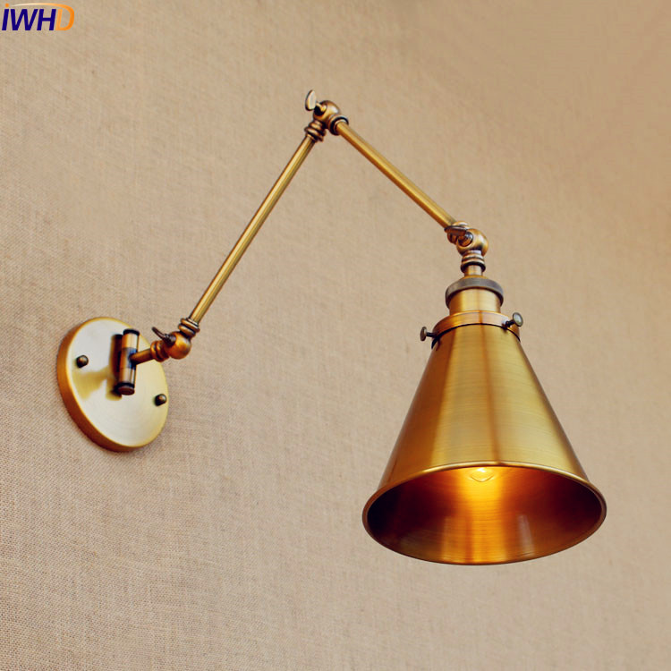 IWHD Loft Copper Antique Vintage Wall Light Fixtures Swing Long Arm Wall Lamp LED Edison Sconce Lampara Pared Industrial copper retro loft vintage wall lamp