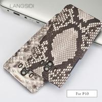 wangcangli For Huawei P10 Luxury handmade real python Skin leather phone case Genuine Leather phone case