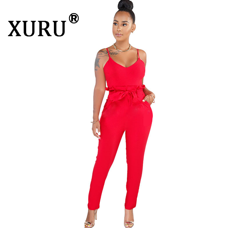 XURU Summer New Sling Jumpsuit Sexy Large Size Women's Solid Color Jumpsuit Trousers With Belt