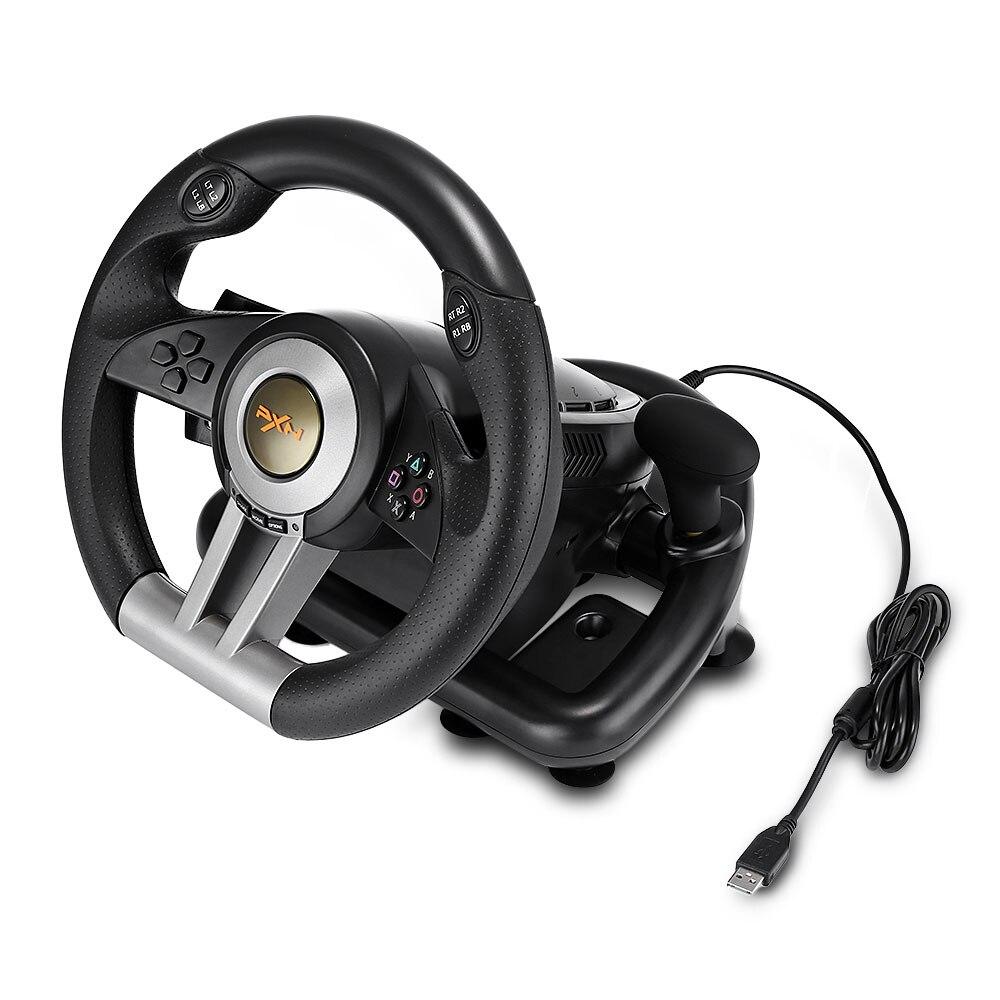 PXN V3II almohadilla de juego de carreras 180 grados volante vibración Joysticks con Pedal plegable para ordenador PS3 PS4 Xbox One todo en uno - 5