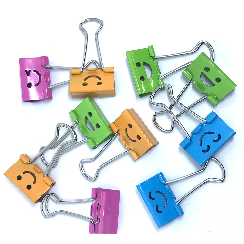 10PCS Common Smile Cute Binder Clips Album Paper Clips For Home Office Books File Paper Organizer Album Photo Clips