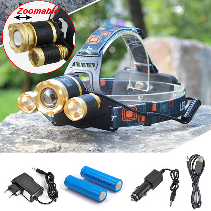 10000 Lumens Headlight 3 LED CREE XM-L T6 Headlamp Zoomable High Power Lamp Light+2*18650 Battery+AC/Car Charger+USB Charger