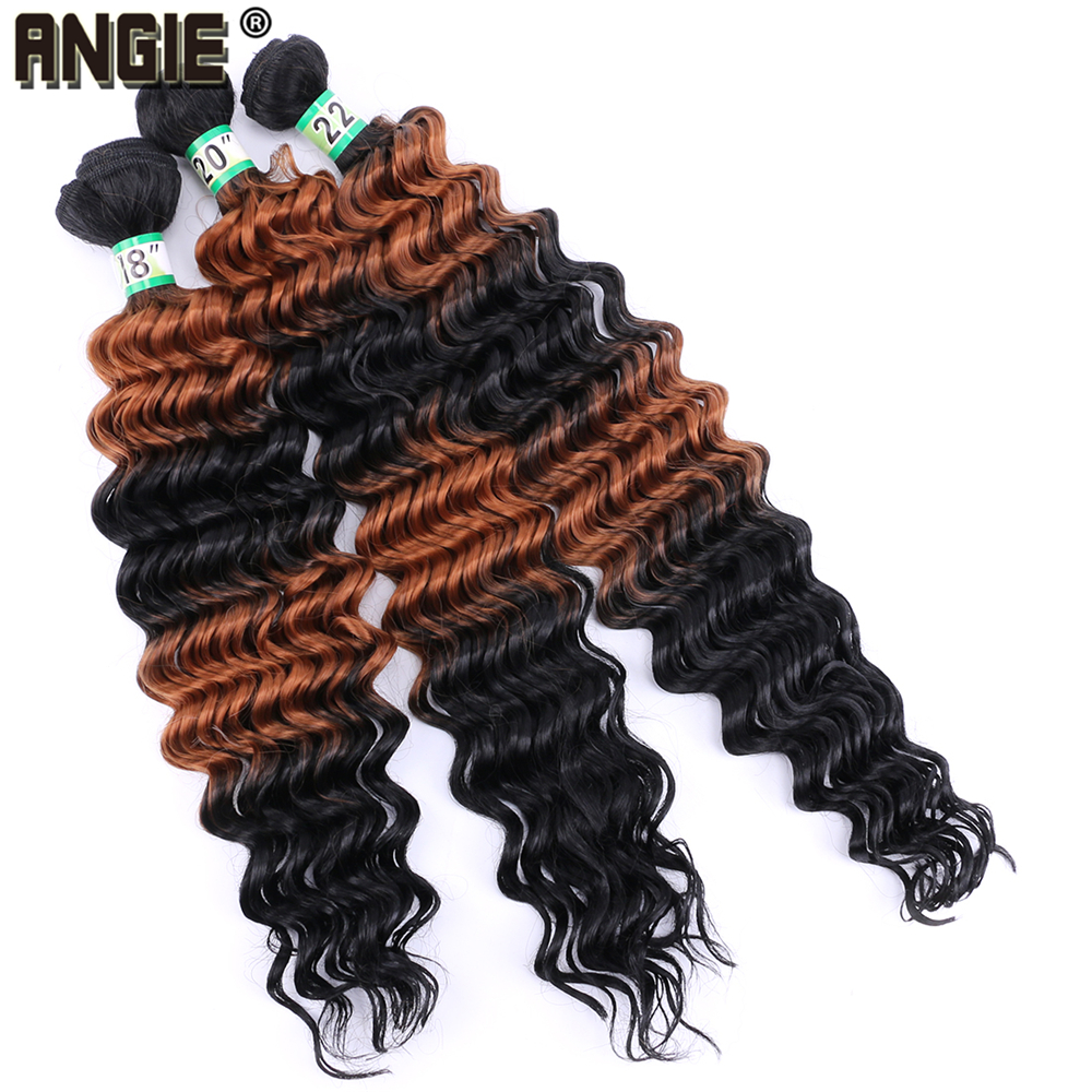 Synthetic Weave Cheap Price Angie T1b/27/1b/27# Ombre Synthetic Hair Extensions Deep Wave Bundles 18-22 Inch Available 3pcs/lot Ombre Color Hair Bundles