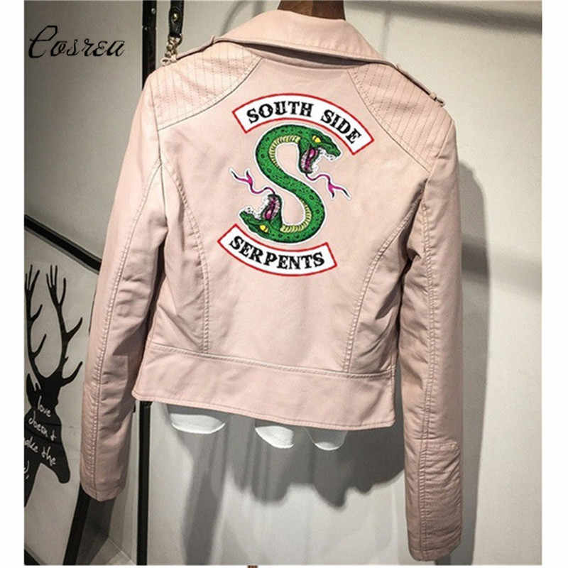 Print Logo Southside Serpents Riverdale Black PU Leather Jackets Women Riverdale Southside Streetwear Top Coat