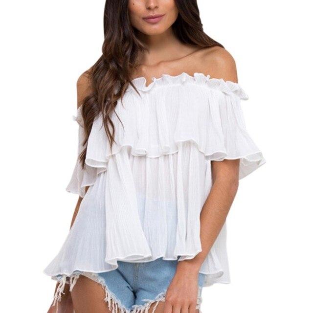 2e730b9293c6b9 Summer Ruffle Sleeve Chiffon Blouse Tops off Shoulder Women Shirts Beach  Loose White Short Sleeve Shirt RZ YRD