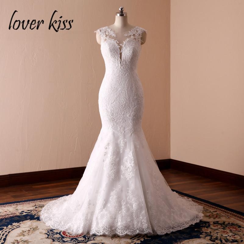 Любовник Поцелуй Vestidos de Noiva эмблематический Русалка вдохновил Свадебные платья кружево с низкой спинкой невесты для свадьбы 2019 robe mariage