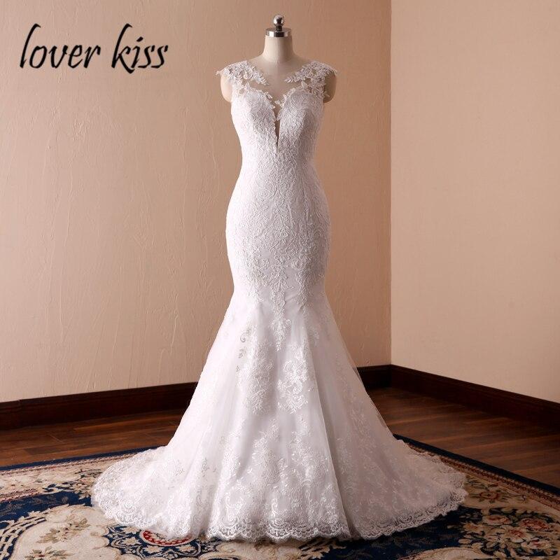 Amante Bacio Vestidos de Noiva Emblematici Della Sirena Ispirato Abiti Da Sposa In Pizzo Low Back Abiti Da Sposa per la Cerimonia Nuziale 2019 robe mariage