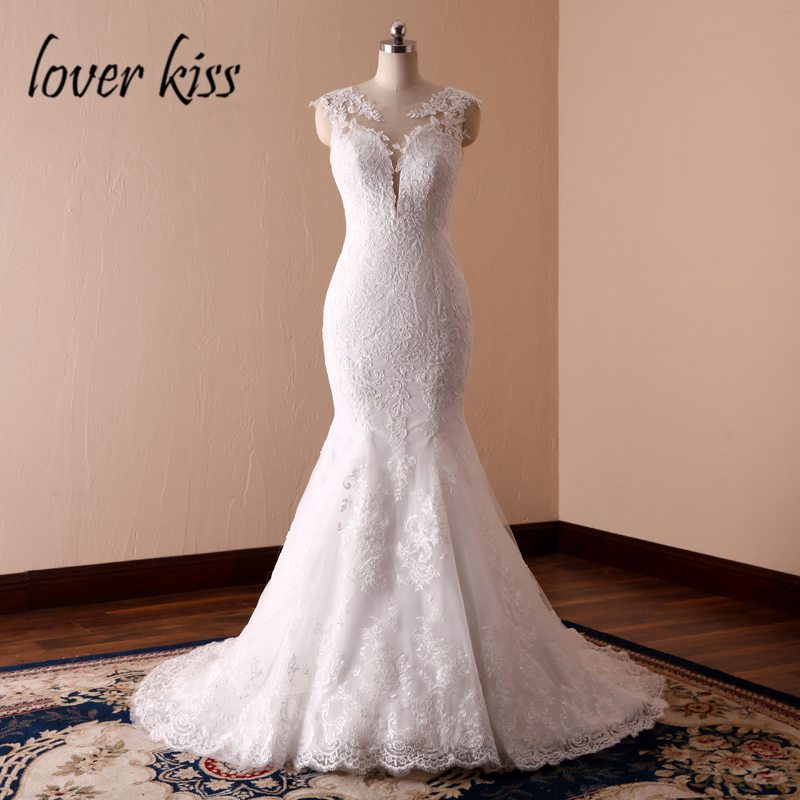 Lover Kiss Vestidos de Noiva Sexy Mermaid Low Backlesss Lace Wedding Dress Sweep Train Brides Gown Trumpet Online robe mariage
