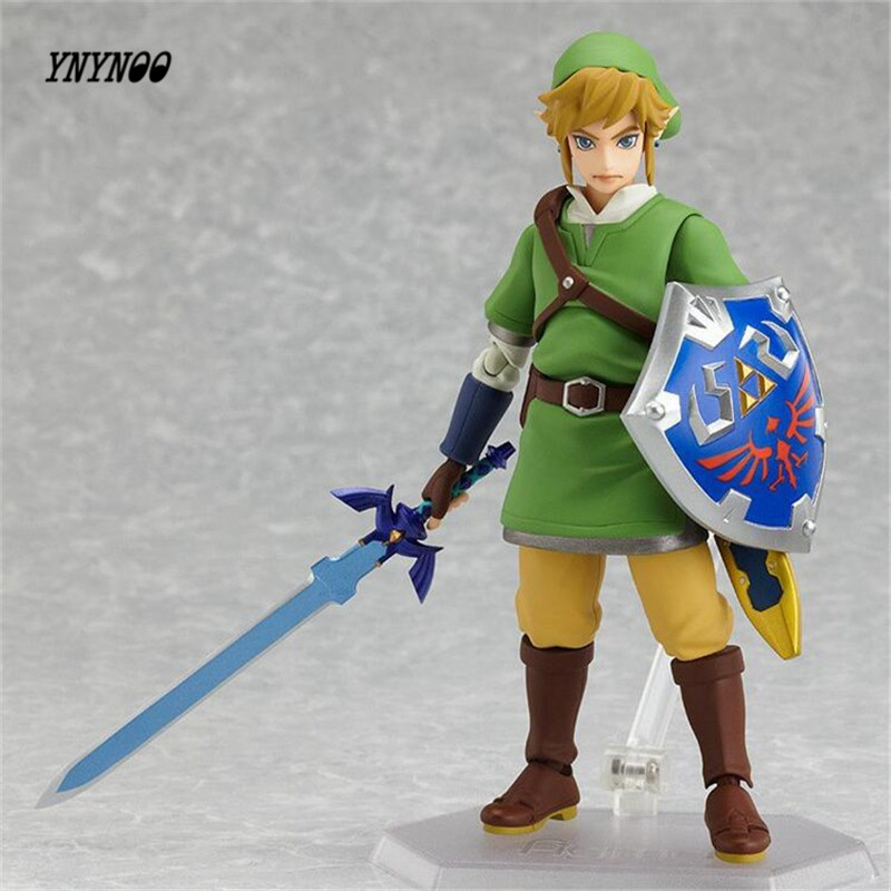 YNYNOO The Legend of Zelda Skyward Sword Link Figma 153 PVC Action Figure Collectible Model Toy 14cm P257 anime the legend of zelda 2 a link between worlds link figma 284 pvc action figure collectible model kids toys doll 10 5cm