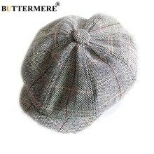 BUTTERMERE Newsboy Hat Unisex Men Women Woolen Octagonal Cap Vintage Plaid Male Female Beret Autumn Winter Flat
