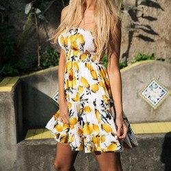 Street Style Sexy Strapless dress women Boho backless beach summer dresses yellow Floral print Ruffles short dress vestidos 2
