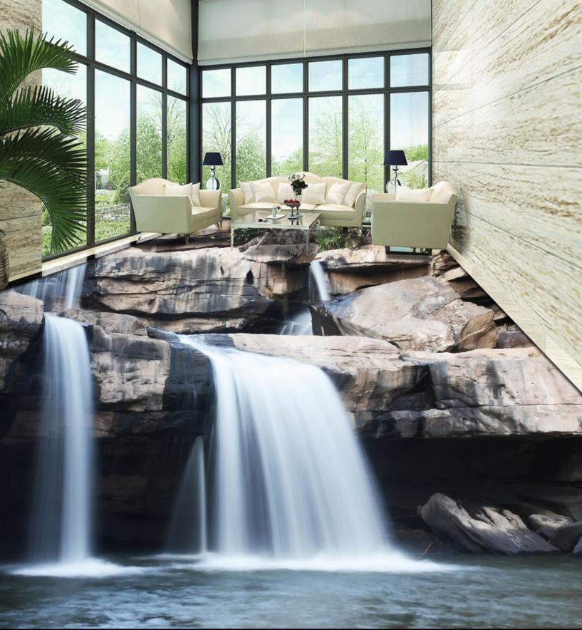3d flooring bathroom custom 3d floor stone waterfalls - Waterproof floor paint for bathrooms ...