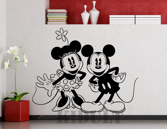 Mickey Minnie Wall Stickers Family Interior Interior Wall Decorative  Painting Kids Room Bedroom School Vinyl Wall