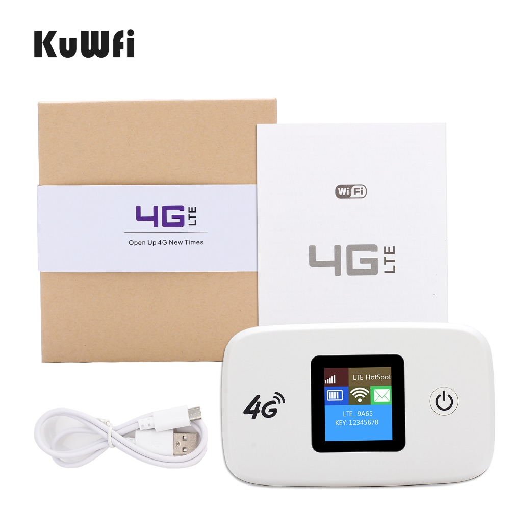 KuWFi Unlocked Car 4G Wireless Router 100Mbps 4G Modem Hotspot Pocket Router With Sim Card Solt Wi-fi Router Up To 10 Wifi Users ...