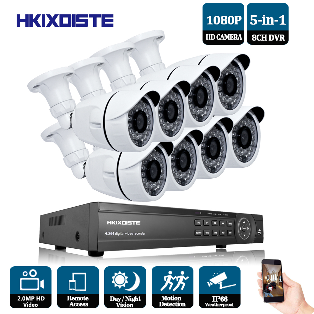 Home Security CCTV Camera System Surveillance Kit 8 Channel CCTV HVR NVR AHD DVR 8pcs 1080P 2.0MP indoor outdoor white Camera