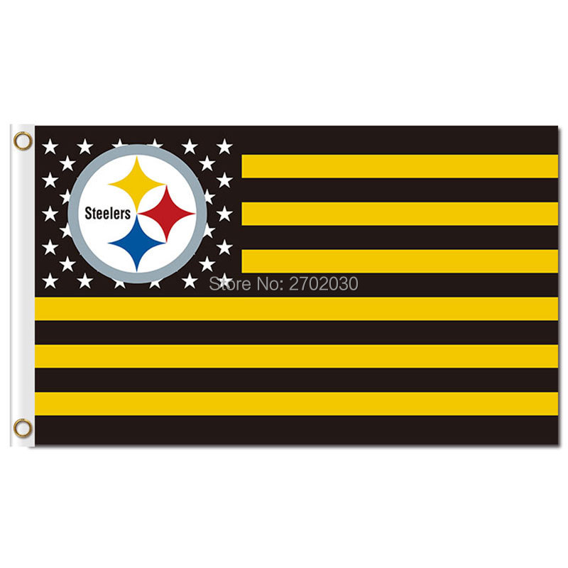Sinonarui Flag Store US America Flag Pittsburgh Steelers Usa Flag 3ft X 5ft Polyester NF*L World Series Football Team Pittsburgh Steelers Banner