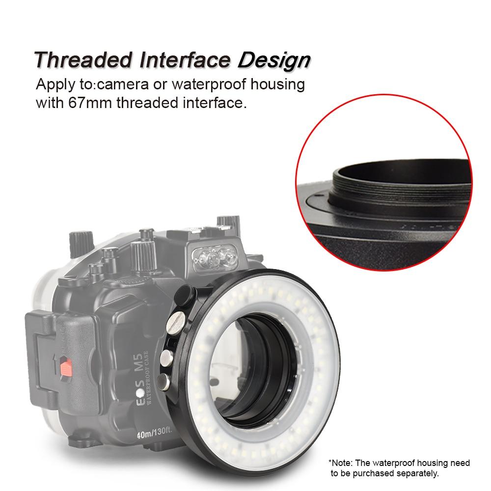 SL-108 67mm Étanche Plongée Sous-Marine LED Light Ring Macro Ring Pour Olympus TG-5 TG5 TG-4 Sony A7 II A7R II Fujifilm X100F