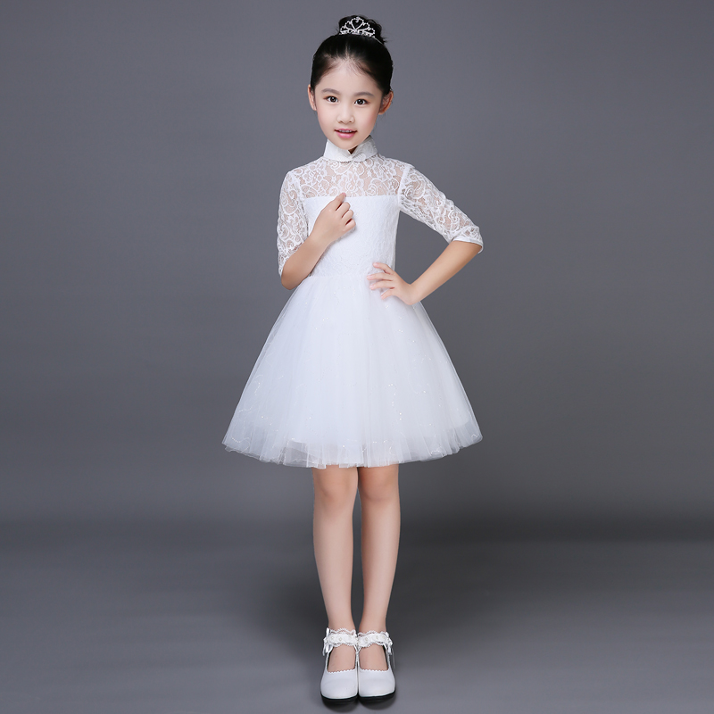 2017 autumn elegant lace white girls dresses children kids beautiful wedding party dress girl formal party teens princess dress 1 design laser cut white elegant pattern west cowboy style vintage wedding invitations card kit blank paper printing invitation