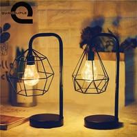 Quadruple Retro Iron Art Table Lamps Hollow Diamond Minimalist Night Light Reading Lamp Bedroom Desk Lighting Decoration