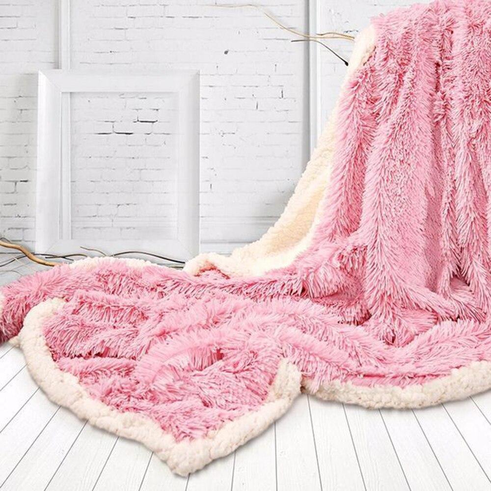 Двухслойное супер мягкое одеяло для теплого сна для пледы одеяло отель искусственное меховое одеяло диван зима - Цвет: pink
