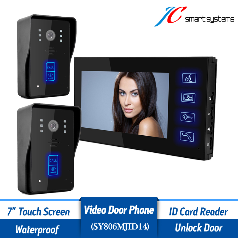 1 monitor 2 outdoor cameras wired door bell home intercom system video door phone for 2 days 2 4g wired