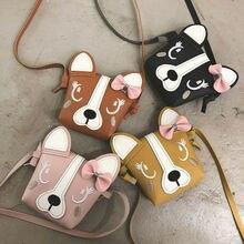 Pudcoco популярная милая детская мини-сумка через плечо для девочек из искусственной кожи с милым бантом в виде собачки, Детские повседневные сумки-мессенджеры для девочек