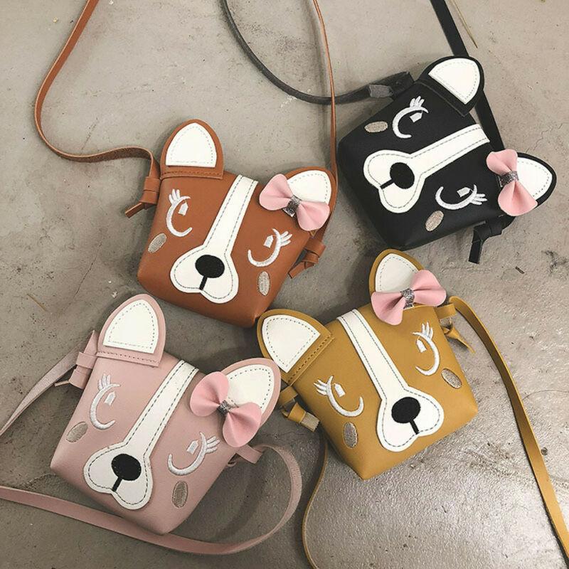 Pudcoco Hot Pretty Kids Girl Crossbody Mini Shoulder Bag PU Leather Cute Dog Bowknot Kids Girls Casual Messenger Bags Handbag