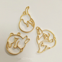 10 pcs/lot Little rabbit fox cat ass Metal Frame Pendant Gold Charm Bezel Setting Cabochon Setting UV Resin Charm(China)