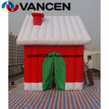 цена на Hot sale inflatable christmas tent 5*3*3m cute inflatable christmas bouncy castle PVC material red jumping house for holiday
