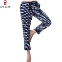 Womens Spring Royal Blue Dot Print Pajama Bottoms Pants Women Loose Print Pyjamas Sleepwears Bottoms Homewears SY686