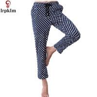 Womens Spring Royal Blue Dot Print Pajama Bottoms Pants Women Loose Print Pyjamas Sleepwears Bottoms Homewears SY686