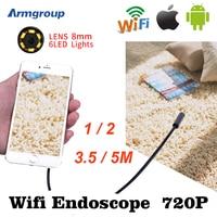 Armgroup Wifi Endoscope HD 1m 2m 5m Iphone Endoscope 8mm 720P Boroscope Waterproof Camera Endoscopic Android