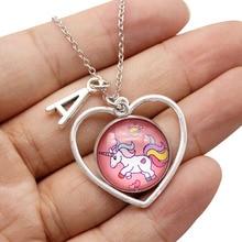 Ожерелье с единорогами сердце Шарм стеклянная цепь из кабошона ожерелья с буквой для женщин для девочек с единорогом Любовник подарок