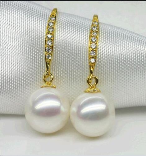 hot a pair of natural AAA10-11MM Australian south sea white pearl earrings >>>silver earrings for women Free shipping pair of stylish rhinestone triangle stud earrings for women